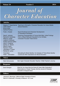 Journal of Character Education - Issue