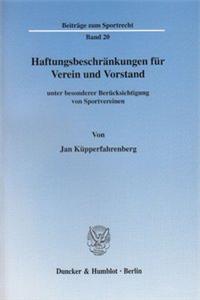 Haftungsbeschränkungen für Verein und Vorstand