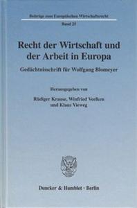 Recht der Wirtschaft und der Arbeit in Europa.