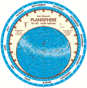 Planisphere for 60° north